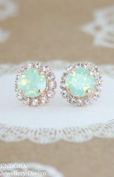 mint opal earringsmint crystal stud by EndoraJewellery on Etsy #opalsaustralia