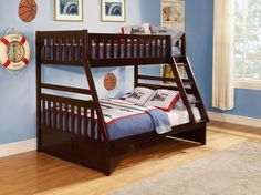 Rowe Twin/Full Bunk Bed B2013TFDC-1Maximizing sleep space is achieved with the stylish Rowe Collection. This transitional bunk bed is featured in a dark cherry finish making it an appropriate choice for a number of youth bedroom settings. With twin over full, twin over twin and the newly added full over full configurations, the design allows you to choose the size that is right for your family. Two under bed options are available – toy boxes that provide additional storage space or twin…