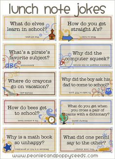 Adorable Lunch Box Notes What a cute idea! Adding lunchbox jokes to your kid's lunches. Here are a few ideas.What a cute idea! Adding lunchbox jokes to your kid's lunches. Here are a few ideas. Lunch Box Notes, School Lunch Box, School Lunches, Kid Lunches, Kids Lunch Notes, Sac Lunch, Lunch Bags, School Jokes, Funny School