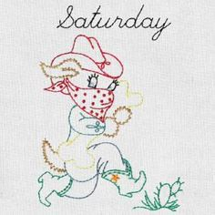 COWBOY DOGS DAYS OF THE WEEK - Aunt Marthas Machine Embroidery | OregonPatchWorks