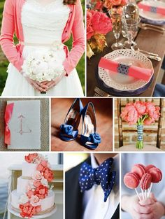 Coral + Navy Wedding color scheme reception wedding flowers,  wedding decor, wedding flower centerpiece, wedding flower arrangement, add pic source on comment and we will update it. www.myfloweraffair.com can create this beautiful wedding flower look.
