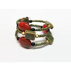 Green and Red Memory Wire Bracelet, Green Boho Memory Wire Bracelet,... ($15) ❤ liked on Polyvore featuring jewelry and bracelets