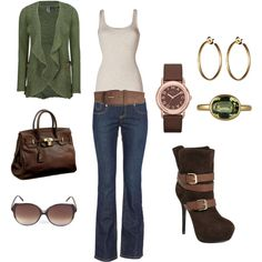 Outfit #21, created by #katmariebay on #polyvore. Some green touches!