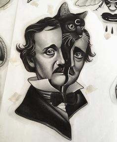 Edgar Allan Poe by Michele Curreli Edgar Allan Poe, Edgar Allen Poe Tattoo, Life Tattoos, Body Art Tattoos, Handpoked Tattoo, Black Cat Tattoos, Oldschool, Desenho Tattoo, Neo Traditional Tattoo