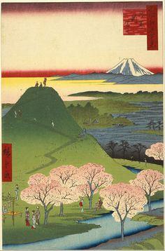 Utagawa Hiroshige - New Fuji, Meguro, from the series One Hundred Famous Views of Edo, 1857.