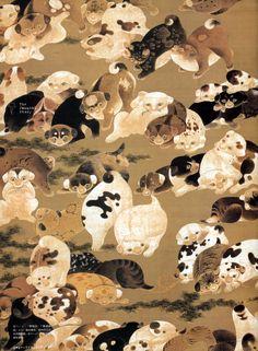 寛政12年(1800年)に制作した伊藤若冲の「百犬図」