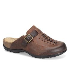 Love this Drum Brown & Brown Wood Cam Leather Mule on #zulily! #zulilyfinds