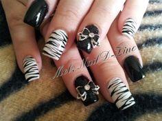 Zebra art with 3D Bows by melaniemilti77 - Nail Art Gallery nailartgallery.nailsmag.com by Nails Magazine www.nailsmag.com #nailart