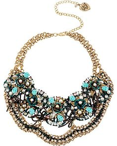PATINA CLUSTER NECKALCE BLUE accessories jewelry necklaces fashion