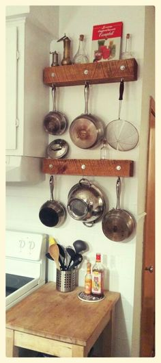 diy potrack hanging pots and pans idea two 4x4 recycled beams 6 lag screws