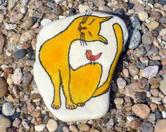 Hand painted stone, Cat and Bird, Home decor, Original hand painted decor