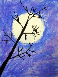 Owl Moon Art Projects for Kids. Use a CD to trace, chalk pastels, and tempera paints to make a fall tree silhouette. Art Halloween, Halloween Art Projects, Fall Art Projects, School Art Projects, Halloween Painting, Halloween Activities, Chalk Pastel Art, Chalk Pastels, Pastel Paintings