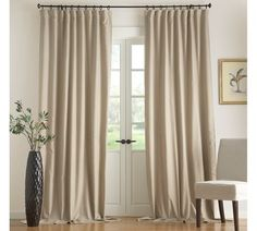 Flax Linen Drape with Blackout Liner | Pottery Barn