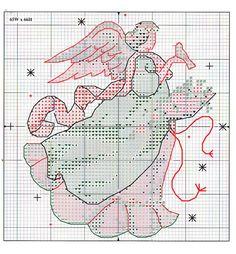 Schema punto croce Angeli Su Albero 10