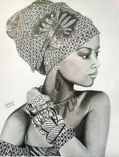Portrait of African woman # portrait # drawing # woman # african # creation # africa # drawing Native American Girls, African American Art, African Women, Black Girl Art, Black Women Art, Art Girl, Beautiful Fantasy Art, My Black Is Beautiful, Female Portrait