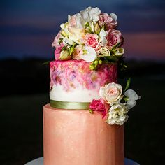 Water colour wedding cake with beautiful floral design