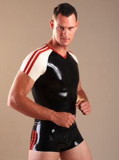 Latex Rubber Soccer Shirt Black in Latex & Rubber by Honour Clothing.