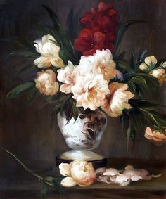 Manet - Peonies In A Vase. Hand painted oil painting reproductions available at overstockArt.com #art
