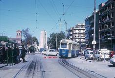 El tranvía 1099 llega a la Cruz de los Caídos (Pueblo Nuevo) procedente de San Blas.   01/11/1970. Foto Madrid, Light Rail, Alicante, Nostalgia, 1970s, Street View, Buses, Falling Down, Cities