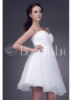 $126.99  Simple Sweetheart Satin And Organza A-Line #Wedding #Dress With Appliques Mini Wedding Dresses, Life Is Beautiful, Appliques, One Shoulder Wedding Dress, Dream Wedding, Satin, Weddings, Bride, Simple