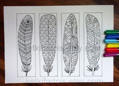 Instant PDF Download -12 Bookmarks to print and color - Digital download - Hand drawn - DIY - Coloring pages