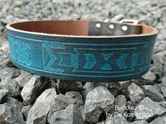 """leather Dog Collar """"Touch of Blue""""  Www.buddiezbydekameraad.nl"""
