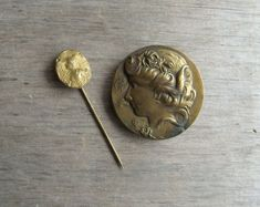 Vintage Brass Jewelry  Art Nouveau Brooch and Stick Pin by gazaboo