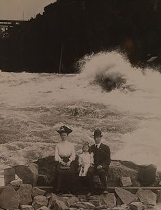 Family in front of Whirlpool Rapids, Niagara Falls. Photomontage, 1905