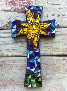 Medium Mosaic cross with Sun - Purples, Blues and Greens on Etsy, $30.00