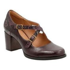 8ea09365ebb Shop for Women s Clarks Tarah Presley Adjustable Strap Shoe Aubergine Cow  Full Grain Leather Snake