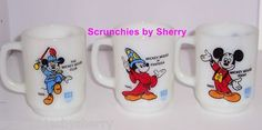 3 Disney Mickey Mouse Pepsi Mug Milk Glass Vintage