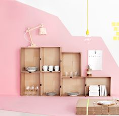 Candy-Colored Kids Decor the perfect pink wall color Yellow Kids Rooms, Interior Inspiration, Design Inspiration, Deco Rose, Diy Rangement, Deco Kids, Sweet Home, Interior And Exterior, Interior Design