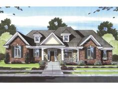 English Cottage Style 1 story 3 bedrooms(s) House Plan with 1940 total square feet and 2 Full Bathroom(s) from Dream Home Source House Plans