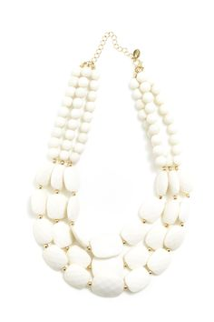 3 Row Faceted Bead Necklace in #White / #Gold - 3145787 - from Equip (AUD $19.99).