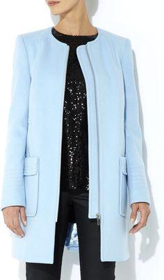 Blue Collarless Coat