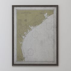 Texas Map :FRAMED Distressed BLACK & SILVER 20th C. Nautical Map of Galveston to Rio Grande