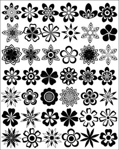 Illustration about Set of silhouettes of decorative flowers. Illustration of curl, floral, branches - 2384028 Flower Pattern Drawing, Flower Art Drawing, Flower Patterns, Stencil Patterns, Stencil Designs, Henna Designs, Laser Cnc, Flower Cut Out, Flower Silhouette