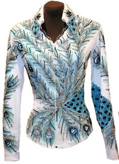 Peacock show shirt Western Show Shirts, Western Show Clothes, Horse Show Clothes, Rodeo Shirts, Horse Riding Jackets, Chemises Country, Showmanship Jacket, Show Jackets, Rodeo Queen