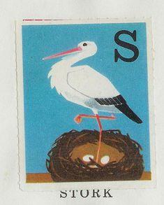 "vintage animal illustrations by Swedish illustrator Staffan Wirén. Each alphabet illustration was found in the children's book, ""Ingen rädder för ABC inte heller för 1−2−3″ (""No one is afraid of the ABC, nore of the 1–2-3″)"