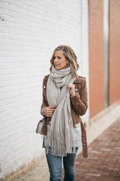 ShopStyle Look by mykindofsweet featuring Nordstrom Tissue Weight Wool & Cashmere Scarf and BLANKNYC Suede Moto Jacket Classy Outfits, Casual Outfits, Fashion Outfits, Womens Fashion, Style Fashion, Scarf Outfits, Fashion Story, Work Outfits, Latest Fashion