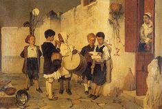 Άννα Αγγελοπούλου: Πίνακες ζωγραφικής με θέμα τα Χριστούγεννα: Ν. Λύτρας, Κάλαντα-Σπ. Βικάτος, Χριστουγεννιάτικο Δέντρο