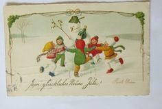 """""""Nuovo anno, Pupazzo di neve, Bambini, Serie striper""""1931, Pauli Ebner (18732)"""