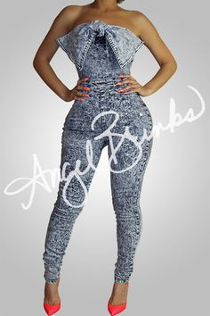Check out Tie The Knot Jean Bodysuit at Angel Brinks Sexy Outfits, Chic Outfits, Fashion Outfits, Denim Fashion, Fashion Mode, Womens Fashion, Fashion Trends, High Fashion, Denim And Diamonds