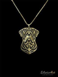 Dogue de Bordeaux jewelry  Gold pendant and door SiberianArtJewelry
