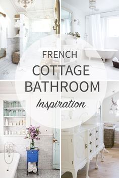 French Cottage Bathroom Inspiration round-up. A great way to get your creative juices flowing before you dive into your own space makeover! French Country Interiors, French Country Rug, French Cottage, French Country Decorating, Coastal Country, Cottage Decorating, Cottage Bathroom Inspiration, Rustic Bathroom Decor, Bathroom Ideas