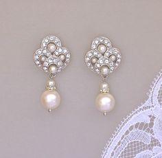 Deko Perlen Braut Ohrringe Elfenbein Perlen Ohrringe von JamJewels1