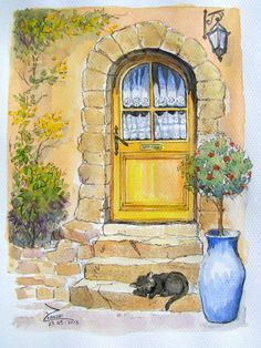 Water Colour and Pen Size Watercolor Paintings For Beginners, Watercolor Landscape Paintings, Watercolor And Ink, Watercolor Illustration, Painting Techniques, Watercolor Architecture, Art Impressions, Painting & Drawing, Art Drawings