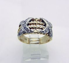 two tone gold and diamond ring | Solid-14k-Two-Tone-Gold-XX-Pave-Set-Real-Diamonds-Ring-Band-6-7-grams ...