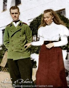 """Grand Duke Mikhail """"Floppy"""" Alexandrovich Romanov of Russia and his sister Grand Duchess Olga """"Baby"""" Alexandrovna, youngest children of the Tsar Alexander III., siblings to the last Russian Emperor Nicholas II. He would be murdered, she would die years later in exile."""