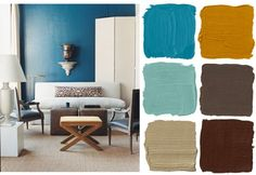 Installation examples trend color wanddesign wall decoration teal 80 s Office Color Schemes, Color Schemes Colour Palettes, Brown Color Schemes, Paint Color Schemes, Living Room Color Schemes, Color Combos, Color Trends, Teal Master Bedroom, Kids Bedroom